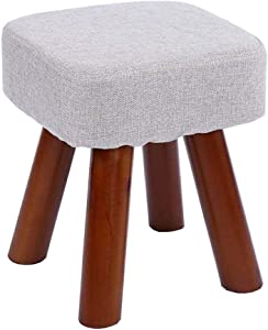 Dall Fußhocker Polsterhocker Hocker Aus Massivem Holz Ottomane Schuh Bench Erwachsene Kinder Stoffsitz (Farbe : Gray, größe : 28×28×33cm)