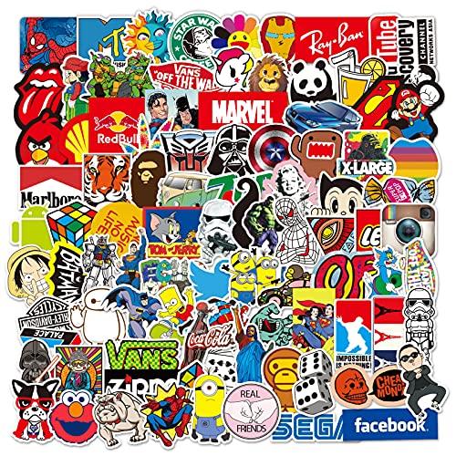 Confezione di adesivi per laptop 100 pezzi, adesivi alla moda Adesivi unici e cool Bottiglia d'acqua Notebook Chitarra Skateboard Adesivi per bambini da viaggio