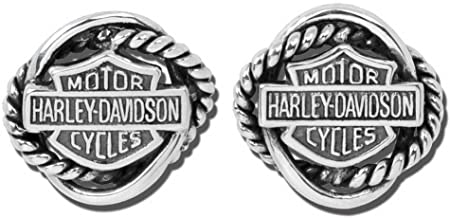 Harley-Davidson Women's Woven Circle Bar & Shield Post Earrings HDE0308