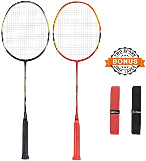 QICHUAN 2 PCS 100% Graphite Badminton Racket Set, Large Racquet Bag / 2 Grip Tapes Included