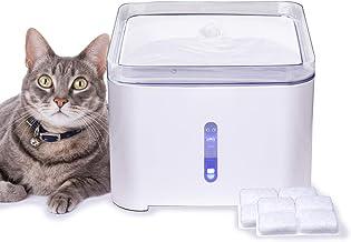Hengu Fuente de Agua para Gatos, 2L Bebedero Dispensador de Agua Silencioso para Gatitos, Perros, Mascotas con Luz Nocturna & Función de Apagado Automático (con 2 Paquetes de Filtros de Carbón)