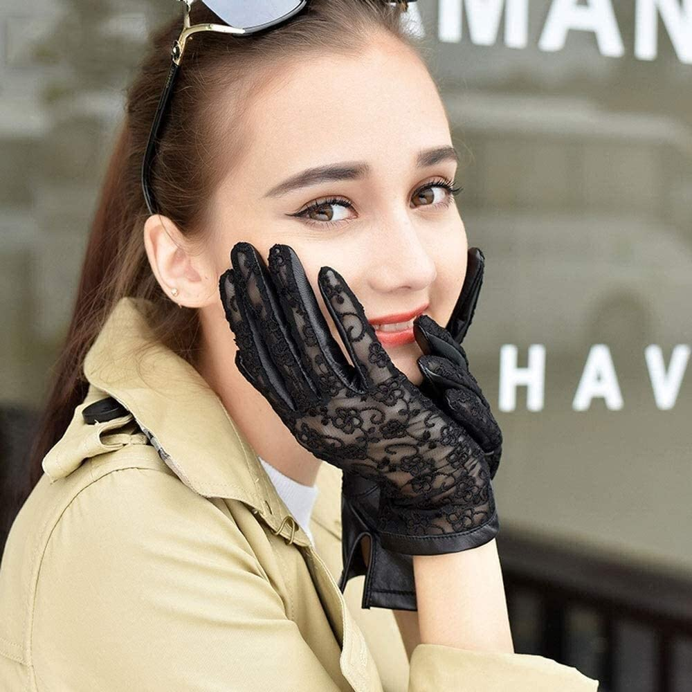 Men's gloves Ladies Leather Lace Sheepskin Gloves Sunscreen Breathable Thin Driving Mitten Outdoor Sports Touch Screen Unlined Gloves Red Brown Black Driving gloves ( Color : Black , Size : Small )
