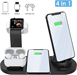 Wireless Charger, AQHQUA 4 in 1 Wireless Charging Stand for Apple Watch and Airpods, Qi Fast Wireless Charging Dock Compatible iPhone 11/11 Pro Max/X/XS/XS Max, 10W Wireless Charging for Samsung