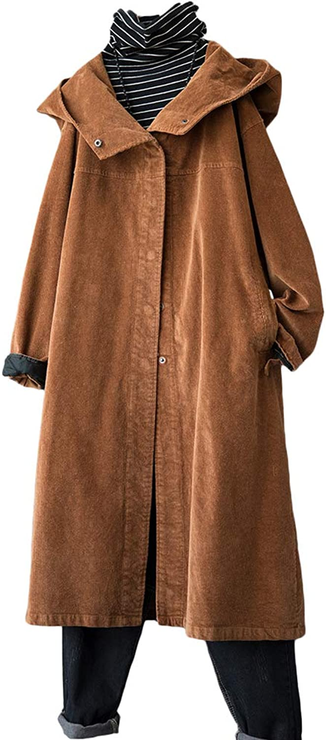 Minibee Women's Autumn Hoodie Coat Loose Button Retro Corduroy Jackets with Pockets Fit US 418