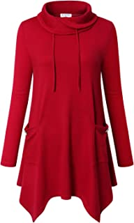 Women's Long Sleeve Cowl Neck Asymmetrical Hem Tunic Tops with Pockets