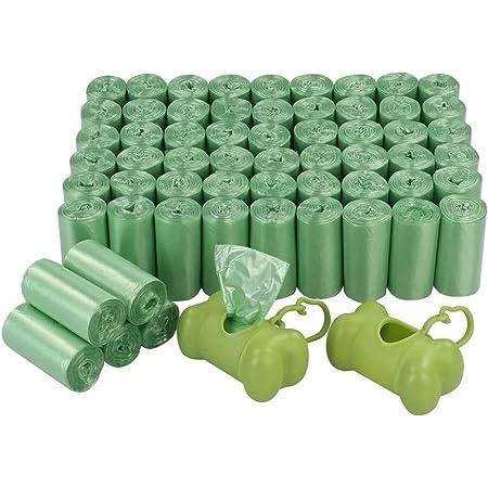 Bringer - Bolsa para desechos de perro verde de 1200 cuentas, bolsas para excremento de mascotas con 2 dispensadores, 60 rollos