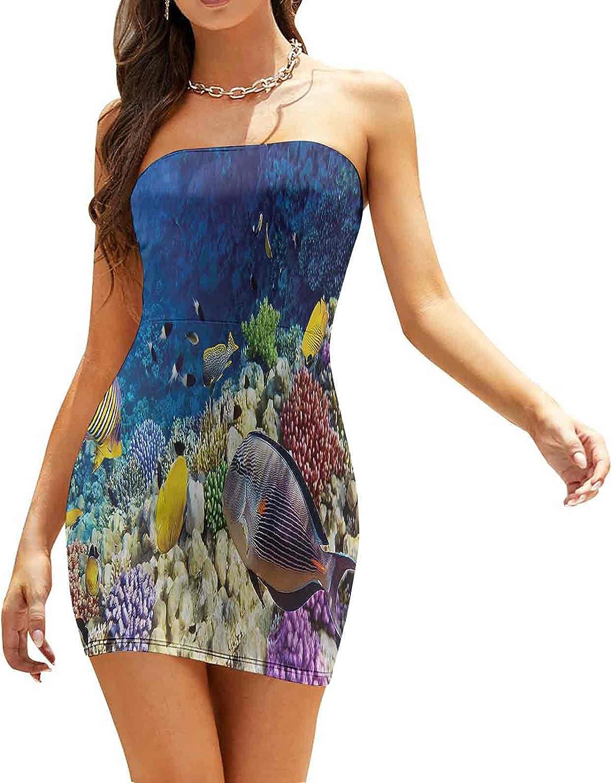 Women's Summer Strapless Dresses Underwater Bubbles Oxygene Dresses