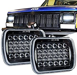 SPL DOT Approved Osram 5''x7''/7''x6'' High/Low Beam Led Headlights with DRL for Jeep Wrangler YJ Cherokee XJ H6054 H5054 H6054LL 69822 6052 6053 (Black Pair)