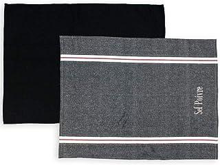 Soleil d'ocre Lote de 2 paños de Cocina de algodón Sel et POIVRE Negro, Bordado 50 x 70 cm