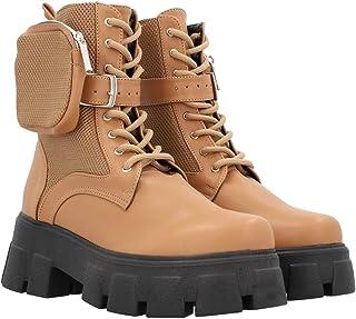 Boots Combat Suela Gruesa Track Para Mujer Color Camel Con Bolsita De Cierre Reforzado Lateral