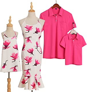 f4a99e8a PopReal Floral Prints Halter Dress and Turn-Down Collar Polo Family Matching  Outfits