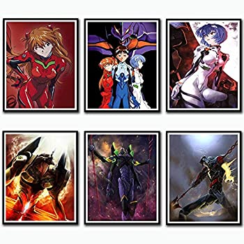 Neon Genesis Evangelion Giant Robot Eva Unit 01 Fabric Canvas Art Print for Home Decoration Wall Art,8 x 10 Inches,Set of 6,No Frame