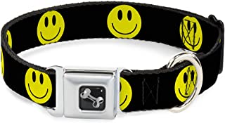 Dog Collar Seatbelt Buckle Smiley Face Black Yellow Black 15 to 26 Inches 1.0 Inch Wide