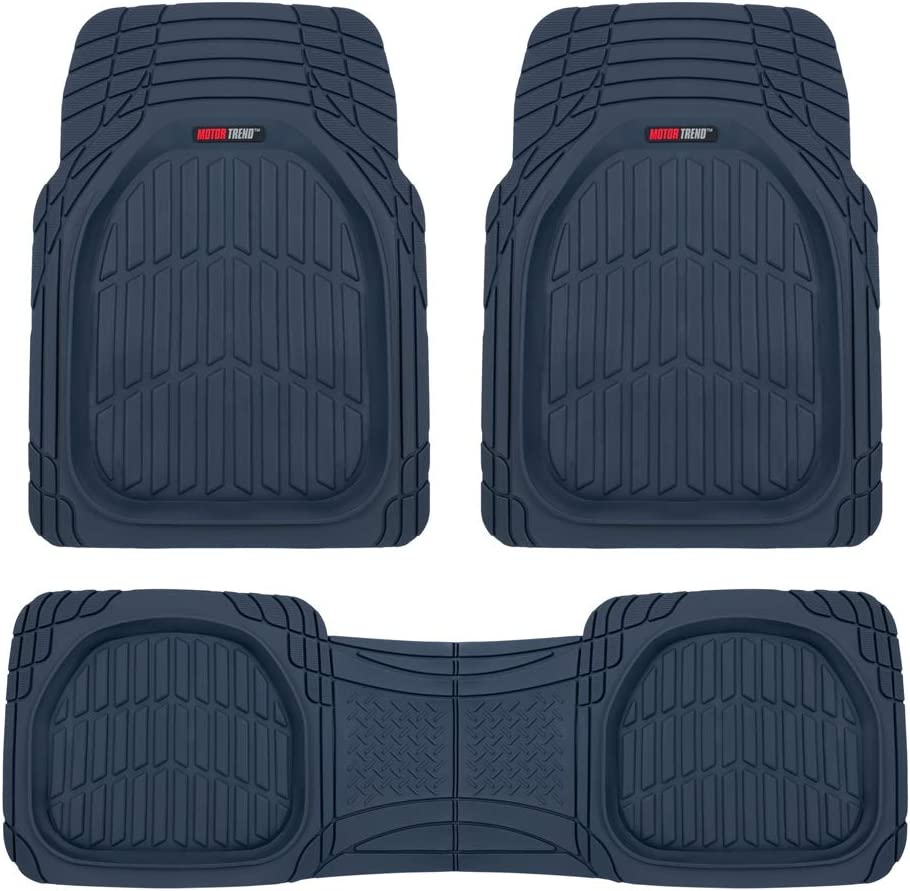 Motor Trend 923-CB Cobalt Blue FlexTough Contour Liners-Deep Dish Heavy Duty Rubber Floor Mats for Car SUV Truck & Van-All Weather Protection, Universal Trim to Fit