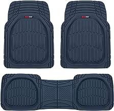 Motor Trend MT923 Premium FlexTough Floor Mats All-Protection-DeepDish Front & Rear Combo Set – w/Traction Grips for Car Auto Sedans SUVs Trucks (Charcoal Blue)