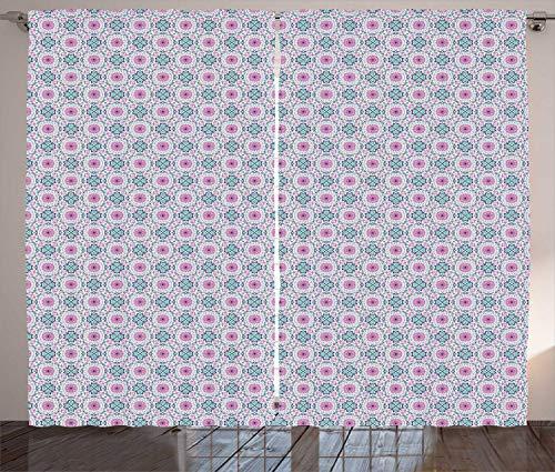 Tr674gs Rideaux marocains, d'inspiration méditerranéenne, illustration rythmique d'inspiration orientale, lot de 2 rideaux, 280 x 200 cm, rose, vert d'eau et indigo