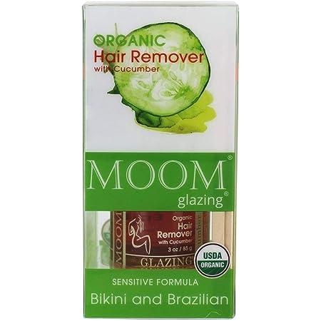MOOM Organic Sugar Wax Kit for Hair Removal for Body & Bikini (3 oz.) All-Natural Sugaring Glaze with Cucumber & Green Tea – Includes 12 Waxing Strips & 6 Applicators