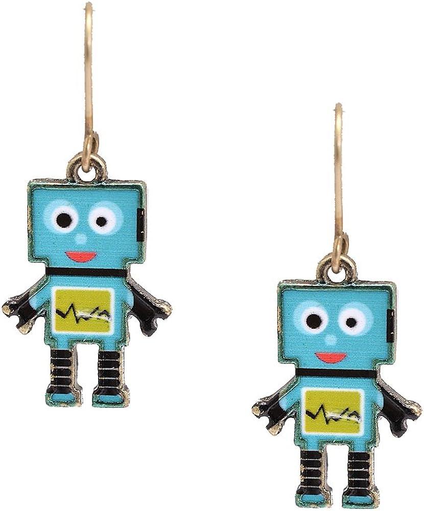 Spinningdaisy Folk Art Max 44% OFF Colorful earrings Robot half Emotional