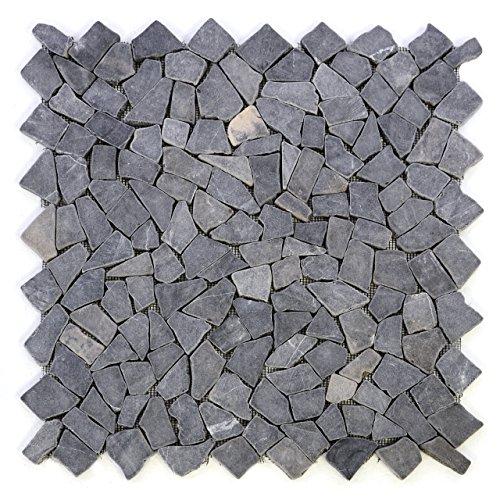 Divero 4 Fliesenmatten Naturstein Mosaik aus Marmor für Wand und Boden grau á 56 x 56 cm