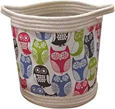 Large Cotton Rope Basket Woven Storage Basket Laundry Organization Decor Cotton Storage Container Baby Laundry Basket Nursery Bin with Handles(Owl)
