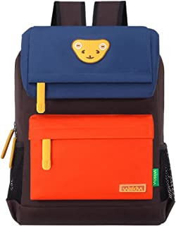 Willikiva Cute Bear Kids School Backpack for Children Elementary School Bags Girls Boys Bookbags (Royalblue/Orange/Coffee, Medium)
