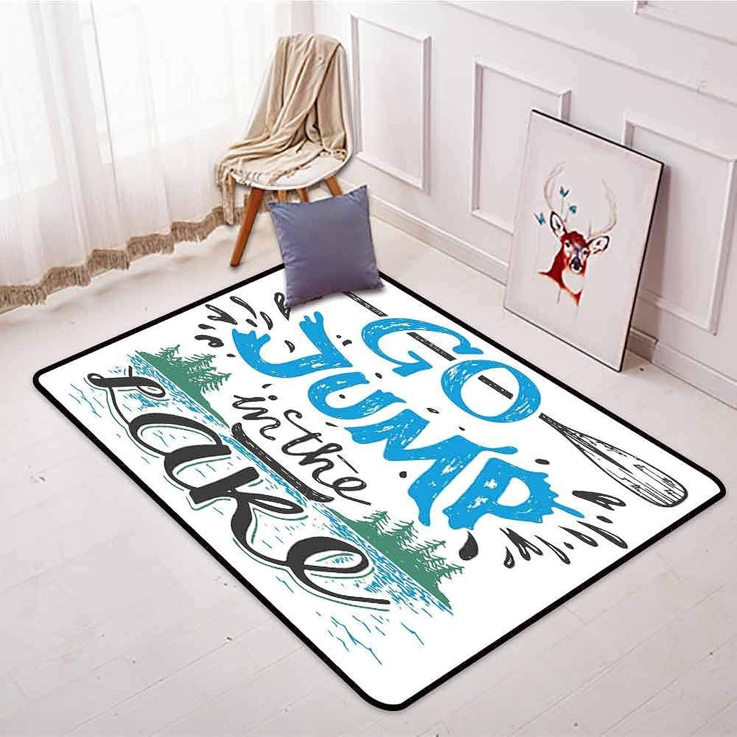 変更可能保護買い手アウトドアパティオラグ キャビンの装飾 動物シルエット レタリング キャンプ 自由 ワイルドなインスピレーション お手入れ簡単 ダークブラウン ホワイト 4'11