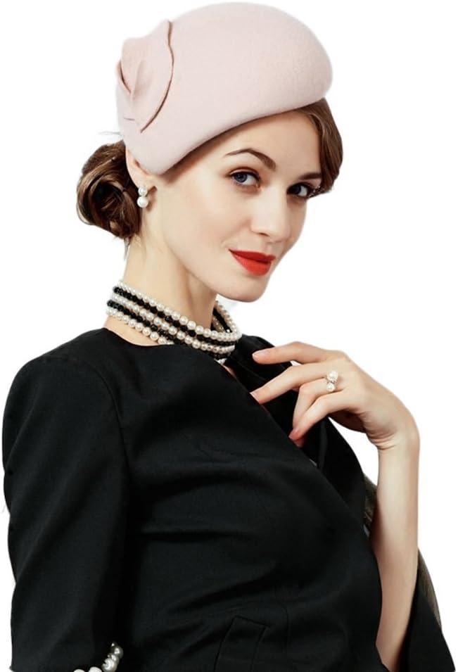 1950s Women's Hat Styles & History F FADVES Flower Womens Dress Fascinator Wool Felt Fedora French Pillbox Hat Party Wedding Teardrop Beret  AT vintagedancer.com