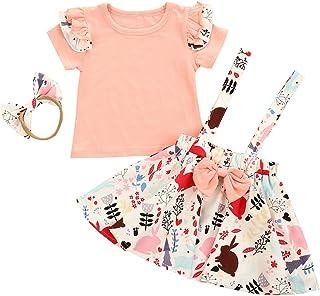 Bébé Filles Jupes Ensemble Enfant en Bas âge Robe Globale vêtements de pâques Chemise à Manches Courtes + Jupe à Bretelles...