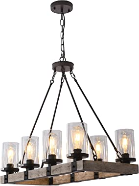 LIANSHUN 8-Lights Farmhouse Island Light for Kitchen, Vintage Wood Chandelier for Dining Room, Hanging Lighting with Seeded G