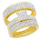 Dazzlingrock Collection 1.10 Carat (ctw) 10K Round Diamond Ladies & Mens Micropave Engagement Ring Trio Set 1 CT, Yellow Gold