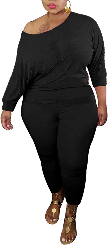 Bluewolfsea Plus Size Pant Sets Women 2 Piece Outfits Sexy Long Sleeve Tops and Sweatpants Sweatsuits Lounge Pajamas Set