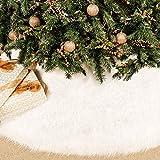 BININBOX クリスマスツリースカート 48インチ スノーホワイトフェイクファー クリスマスプラシ天ツリースカート 冬用 大型クリスマスツリーマット ホリデーパーティー クリスマスツリーデコレーション