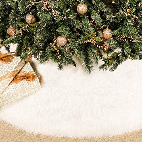 BININBOX Christmas Tree Skirt, 48 Inch Snowy White Faux Fur Xmas Plush Tree Skirt, Winter Large Christmas Tree Mat, Holiday Party Christmas Tree Decorations