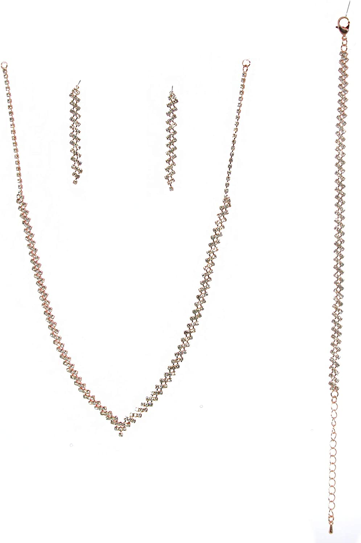 Topwholesalejewel Fashion Jewelry Set Rose Gold Plating Necklace Earrings Braclelet 3 Pcs Set