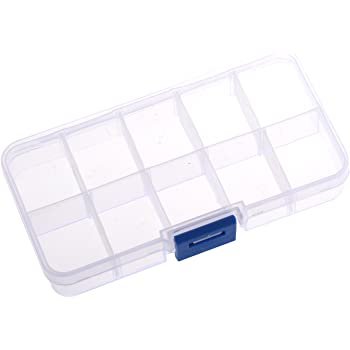 SODIAL(TM) 1 - 10 Compartimiento Caja de Almacenamiento Plastico Transparente para Prendedor Perla Joyeria Herramientas Accesorios Pequenos: Amazon.es: Hogar