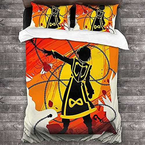 Hunter X Hunter Juego de ropa de cama, diseño de anime en 3D, funda de edredón (1,140 x 210 cm + 50 x 75 cm x 2)
