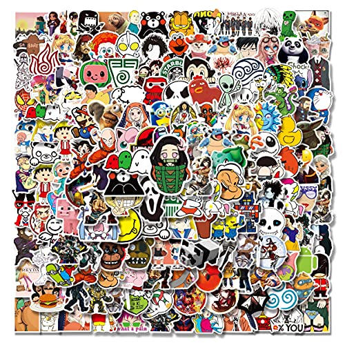 Anime and Cool Stickers Mixed Pack| 200 PCS |Stickers for Adults,Car,Laptop,Stickers for Teens,Water Bottle Stickers,Skateboard,Kawaii Stickers for Water Bottles Decals,Bumper,Cute Vinyl Stickers