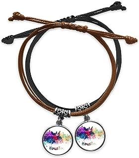 Houston America City Watercolor Bracelet Double Leather Rope Wristband Couple Set Gift