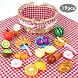 BeebeeRun 19Pcs Pretend Toy Food Set, Slice & Share Picnic Basket Play Food Playset with Cutting Food Fruits, Great for...