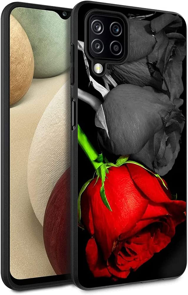Esakycn for Galaxy A12 case, Phone Case Silicone Black with Rose Pattern Design Ultra Slim Shockproof Soft TPU Girls Women Protective Cover Skin for Samsung Galaxy A12 6.5 inch. Rose 2