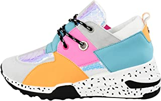 Women's Wedges Cliff Sneakers Retro Leopard Colorblock Running Sport Trainer Casual Shoes