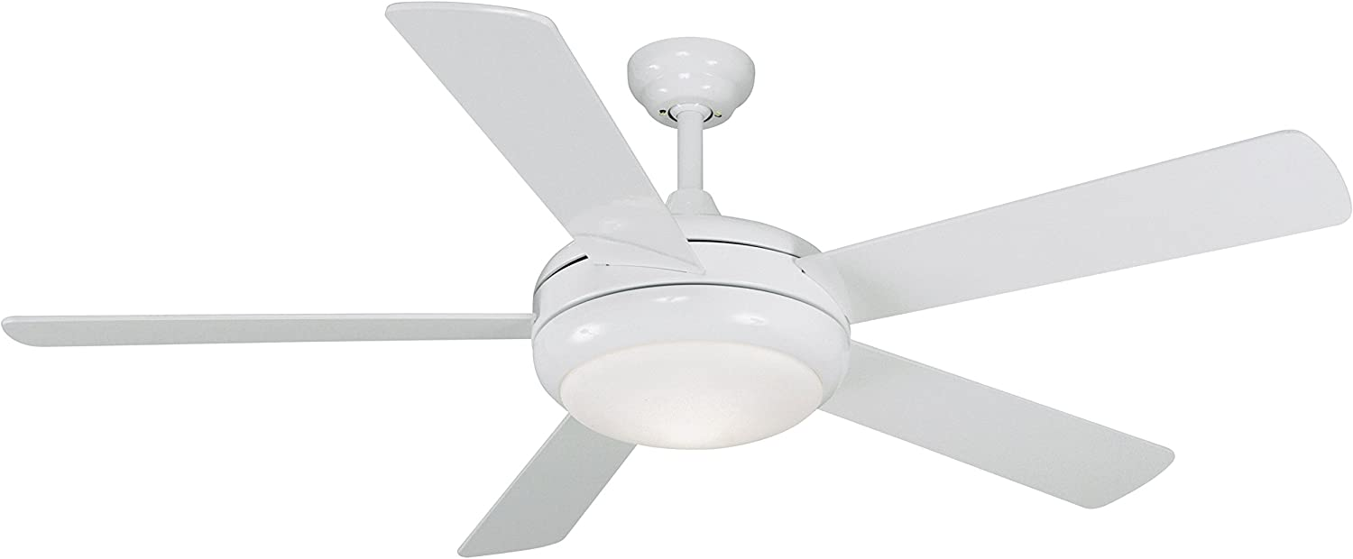 Litex E-TIT52WW5LKRC Titan Collection 52-Inch Ceiling Fan with Remote Control, Five Reversible White Whitewash Blades and Single Light Kit with Opal Glass