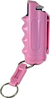 Pepper Defense 4-in-1 Max Strength OC Pepper Spray with Pink Finger Grip Belt Clip Holster - 10% Pepper, 1% CS Military Tear Gas, 1% CN Tear Gas, UV Dye