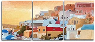Renaiss 24x30 Inches x 3pcs Canvas Wall Art Abstract Santorini Greece Oil Painting Home Decor Wall Decor for Girl's Bedroom Corridor Staircase Frameless Rolled Package