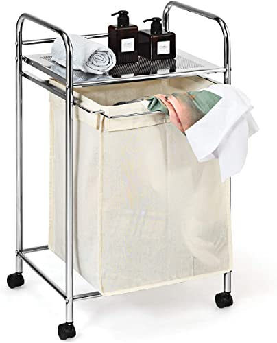 wholesale Giantex new arrival Laundry Cart with Wheels, Heavy Duty 2021 Shelf and Removable Bag for Dirty Clothes Storage Laundry Basket Cart, Chrome online sale