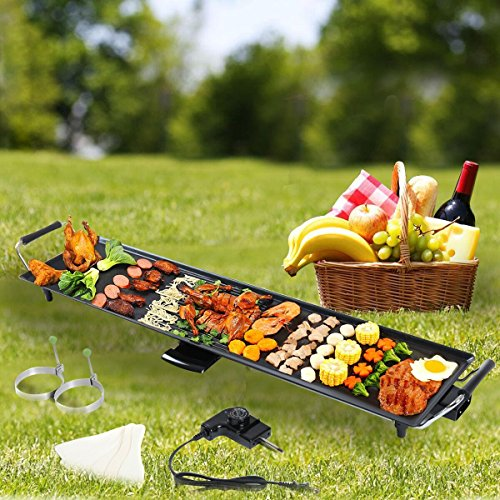 New Electric Teppanyaki Table Top Grill Griddle BBQ Barbecue Nonstick Camping Garden