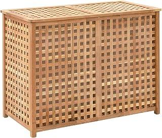 Kshzmoto Coffre à Linge Panier à Linge Collecteur de Linge Trieur à Linge Boîte à Linge Sac à Linge 87,5×46×67 cm Bois Mas...