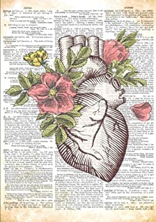 Anatomical Heart with Flowers Dictionary Artwork Notebook: 7 x 10 Inch College Ruled Notebook/Journal