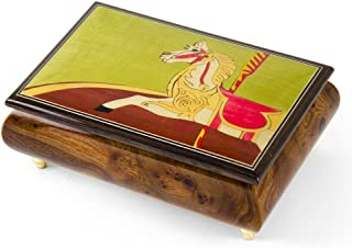 Handcrafted 18 Note Carousel Horse Wood Inlay Musical Jewelry Box - Over 400 Song Choices - Nutcracker Suite