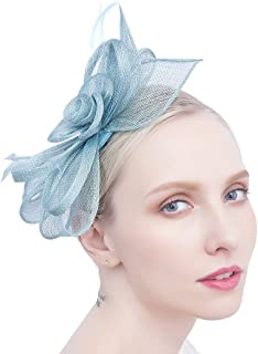 Felizhouse Tea Party Fascinators Pillbox Church Hats for Women Flower Feather Veil Headband Hair Clip
